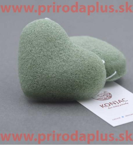 Zelená špongia srdiečko - 100 % prírodný organického koreň rastliny Konjac